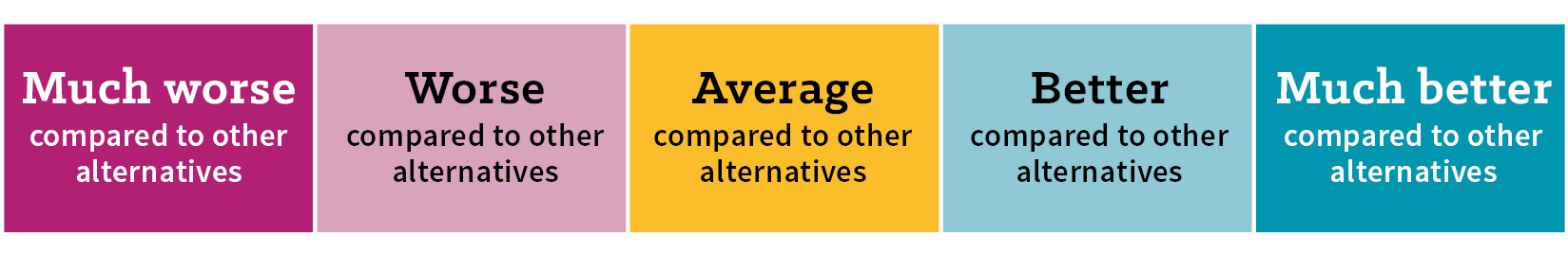 Scale showing how alternatives were scored against one another, ranging from much worse when compared to other alternatives to much better when compared to other alternatives.