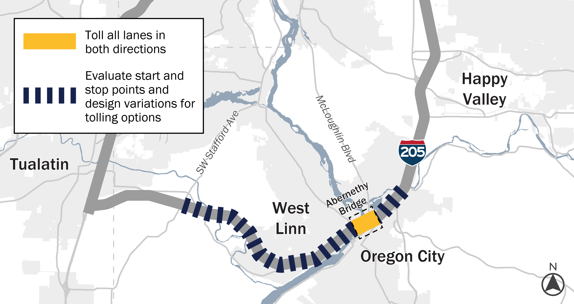 A map of I two oh five showing where both-way toll options are currently being looked at, between SW Stafford Road in the west and Oregon Route two thirteen in the east