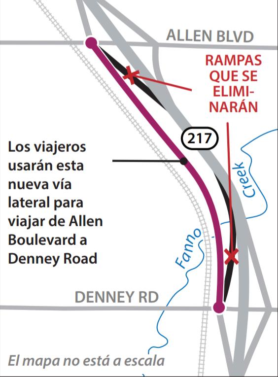 Mapa de la nueva vía  lateral que conectará SW Allen Boulevard con SW Denney Road.