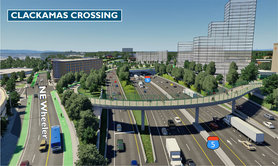 Simulation: A new bike and pedestrian-only bridge over I-5, from NE Clackamas Street to N Ramsay Way.
