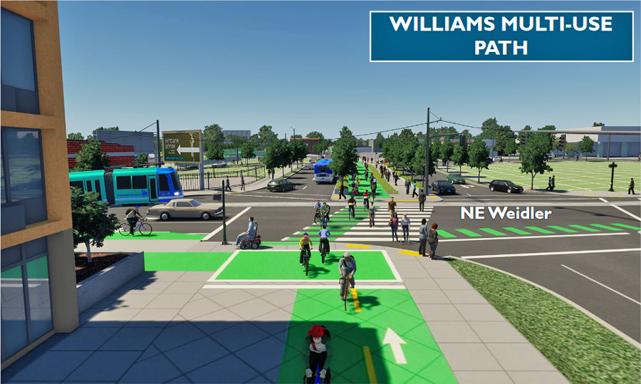 Simulation: A new bi-directional protected bikeway on N Williams.