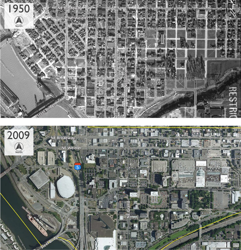 Aerial photos: Project area in 1950 (before I-5) and Project area in 2009.