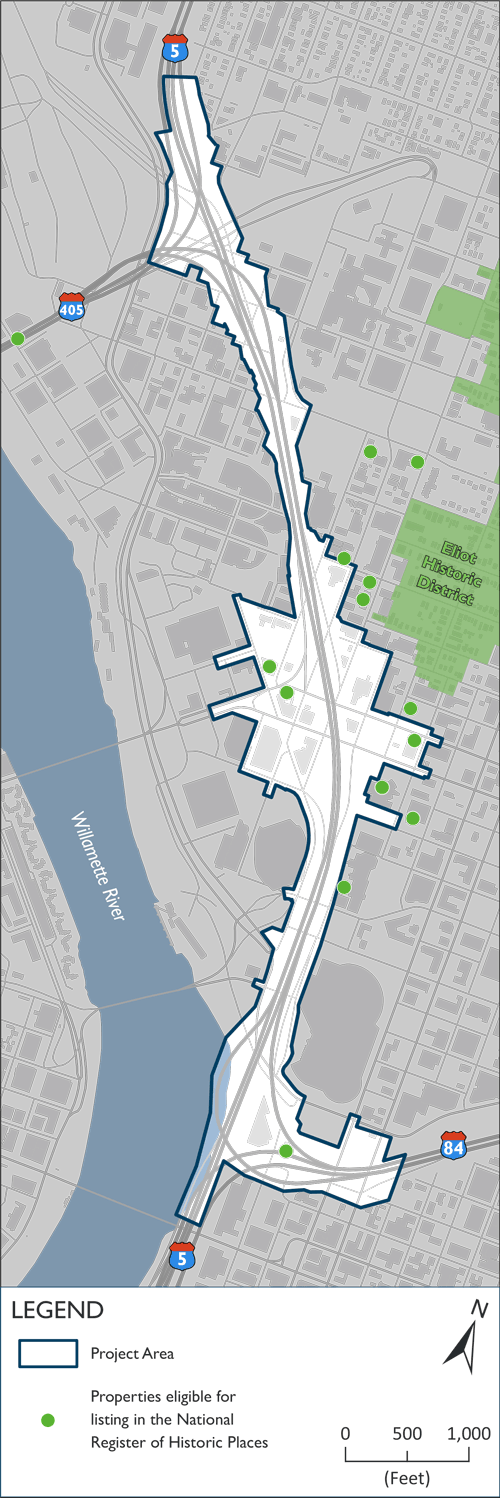 Map: Properties eligible for historic status within the Project Area.