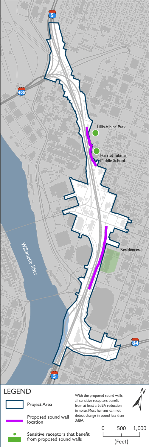 Proposed noise wall locations with the Project