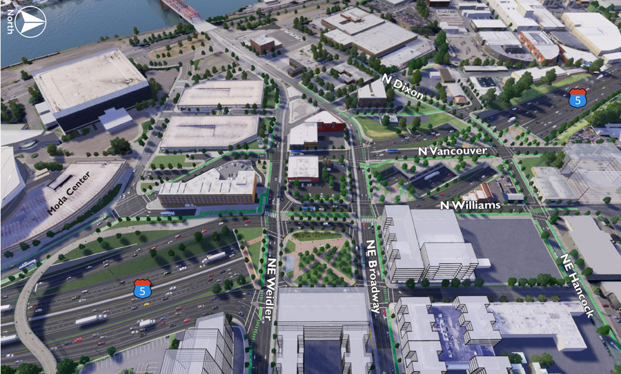 Simulation: A safer future I-5 corridor and local street system with greater separation of people walking, biking, rolling and driving within the Project Area.