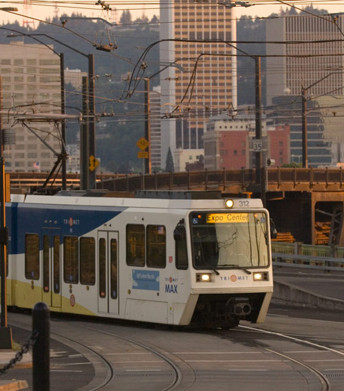 Photo: MAX light rail entering the Project Area.