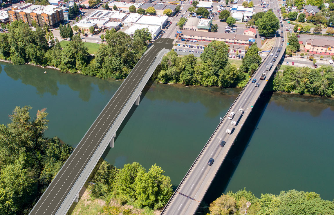 Photo: simluated birdseye view of the new Van Buren Street Bridge.