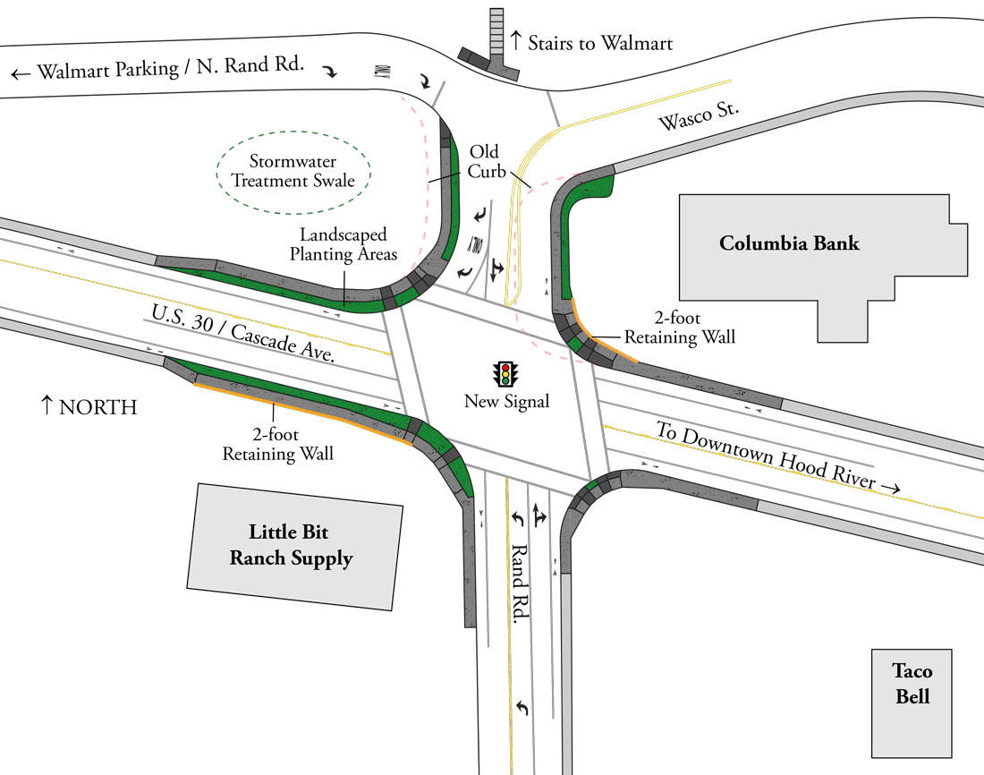 US 30 at Rand road improved intersection diagram.